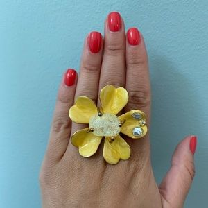 Oversized flower ring yellow adjustable